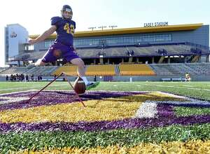 UAlbany's placekicker Ethan Stark works on his field goal kick during football practice on Thursday, April 21, 2016, at Casey Stadium in Albany, N.Y. (Cindy Schultz / Times Union)