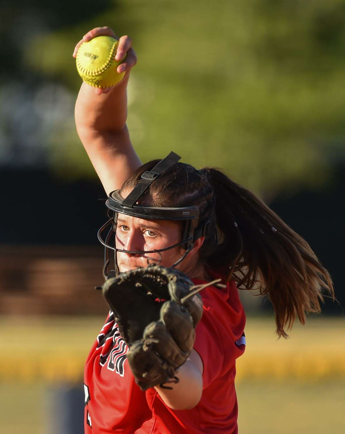 New Braunfels Canyon pitcher Brooke Vestal winds up during the Region IV-6A regional final series versus Brennan at St. Mary's University Thursday evening.