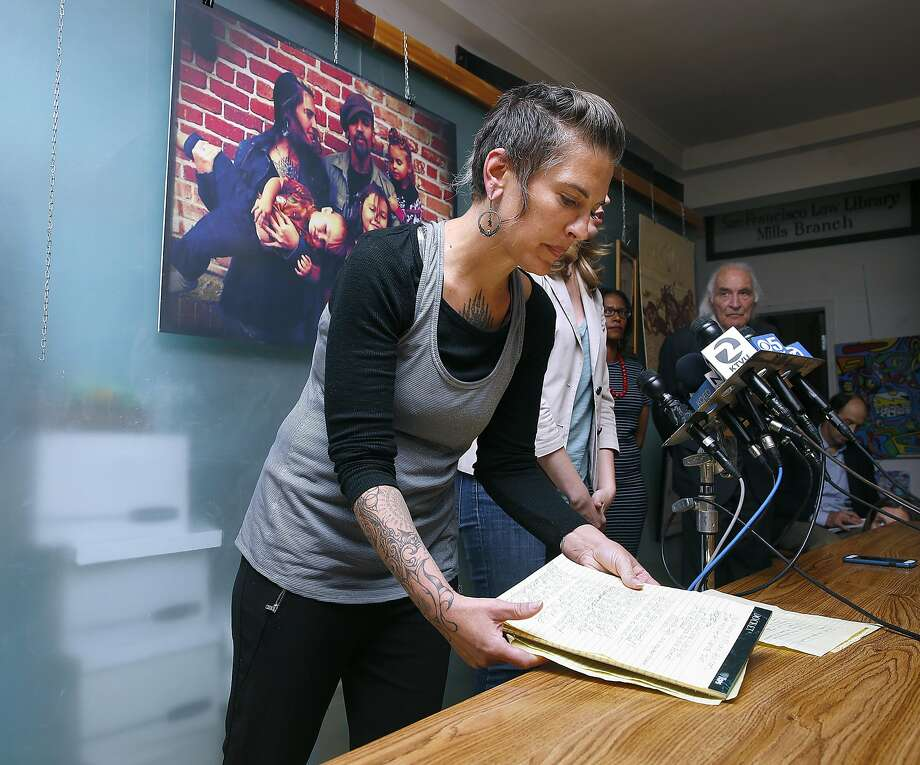 Micah Allison, wife of Derrick Ion Almena gets ready to speak during a press conference an J. Tony Serra's law office discussing her husband's charges in San Francisco on Friday, June 9, 2017, in San Francisco, Calif. Photo: Liz Hafalia, The Chronicle