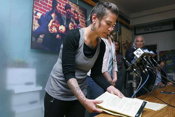Micah Allison, wife of Derrick Ion Almena gets ready to speak during a press conference an J. Tony Serra's law office discussing her husband's charges in San Francisco on Friday, June 9, 2017, in San Francisco, Calif.