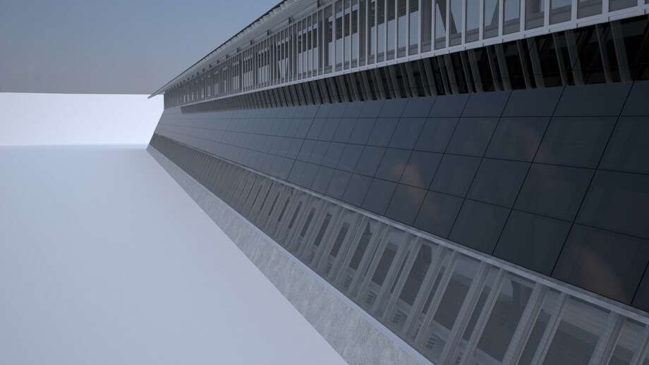 A proposal by Las Vegas-based Gleason Partners for President Trump's border wall includes two sets of solar panels that would produce power for security infrastructure on the wall. The power could also feed into electricity grids near the wall. Photo: Courtesy Of Gleason Partners