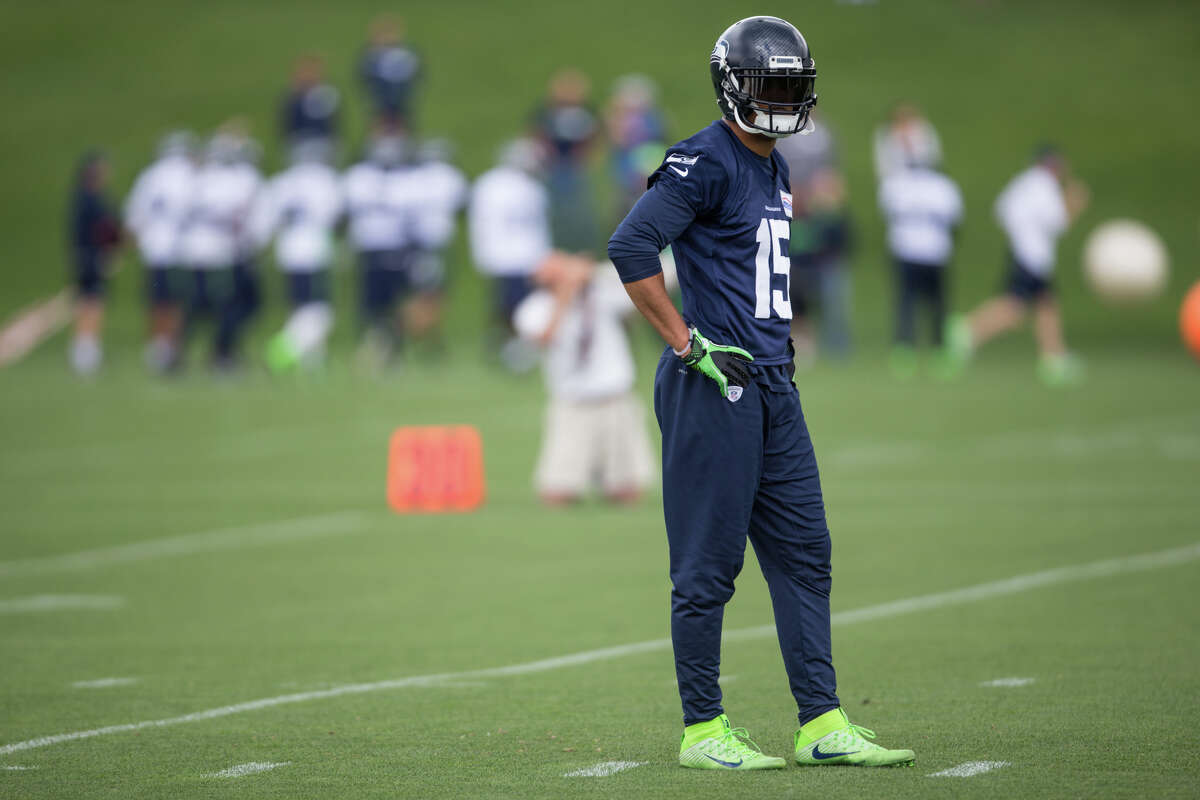 Seahawks wide receiver Jermaine Kearse watches drill during OTAs at Virginia Mason Athletic Center on Friday, June 9, 2017.