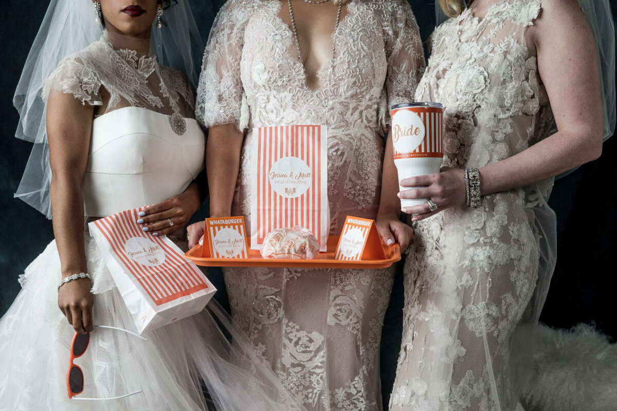 The brides show-off the latest in Whataburger swag. Tenenbaum Jewelers, Abrahams Oriental Rugs, and Mitchell Gold + Bob Williams furnishings shown throughout.