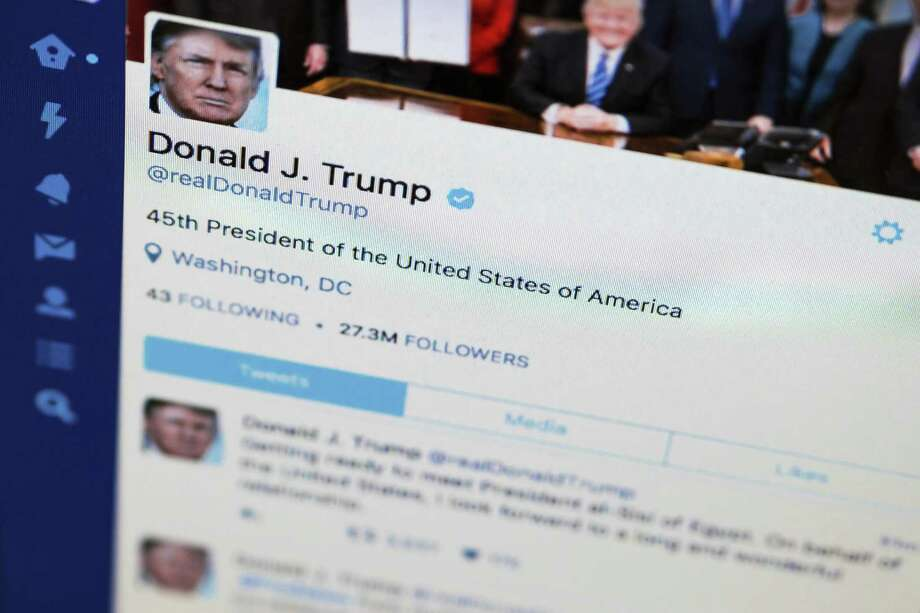 President Donald Trump's tweeter feed on a computer screen in Washington. His excessive use of tweets to communicate offer a window to the inner Trump — and it's not pretty or useful. Photo: J. David Ake /Associated Press / Copyright 2017 The Associated Press. All rights reserved.