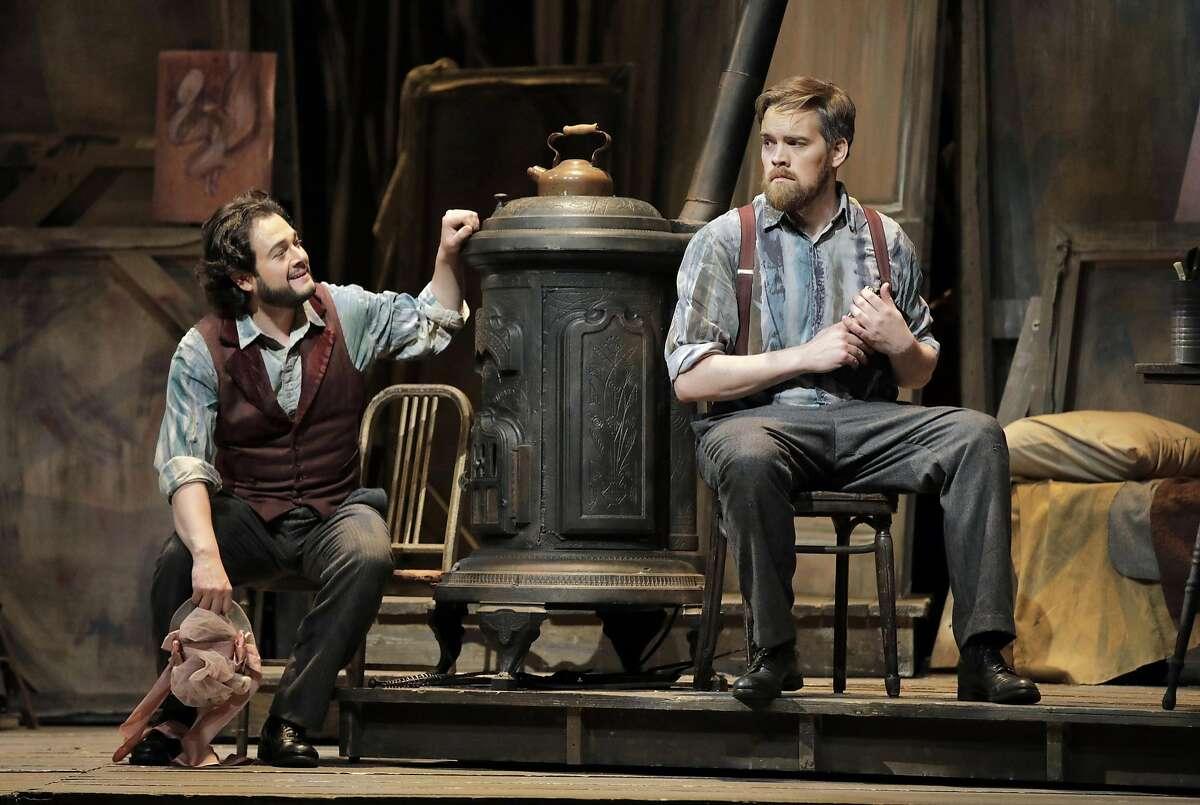 "Arturo Chac�n-Cruz (l.) as Rodolfo and Audun Iversen as Marcello in Puccini's ""La Boh�me."""