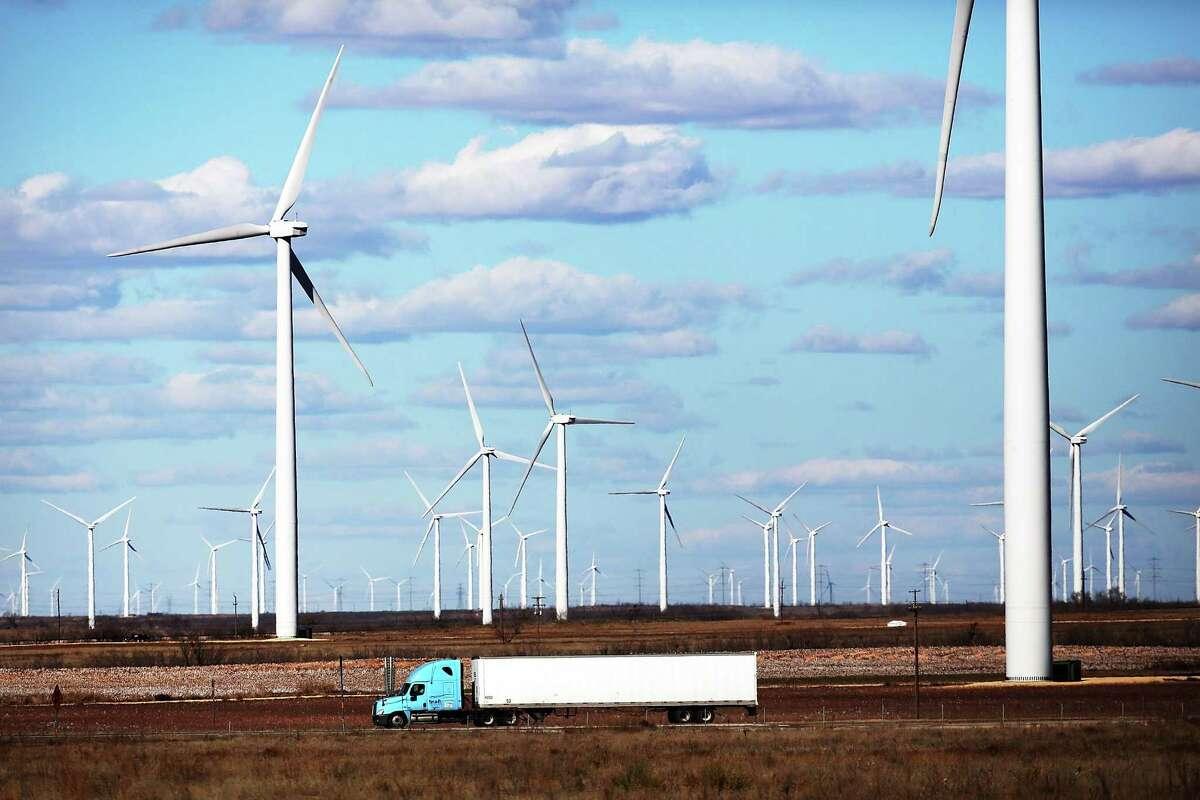 A wind farm n Colorado City, Texas.
