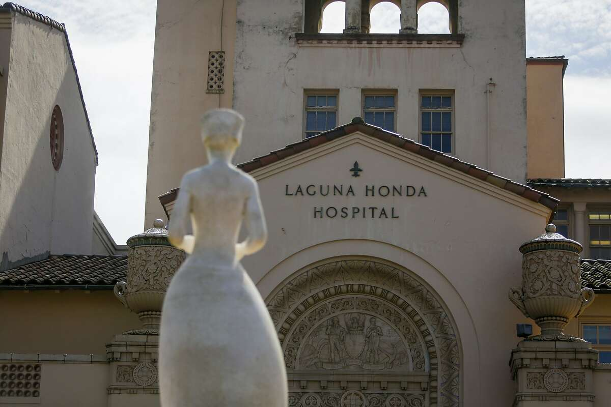 One of the two sculptures of real women in San Francisco, the statue of Florence Nightingale, stands outside the main entrance of Laguna Honda Hospital in San Francisco on June 9, 2017.