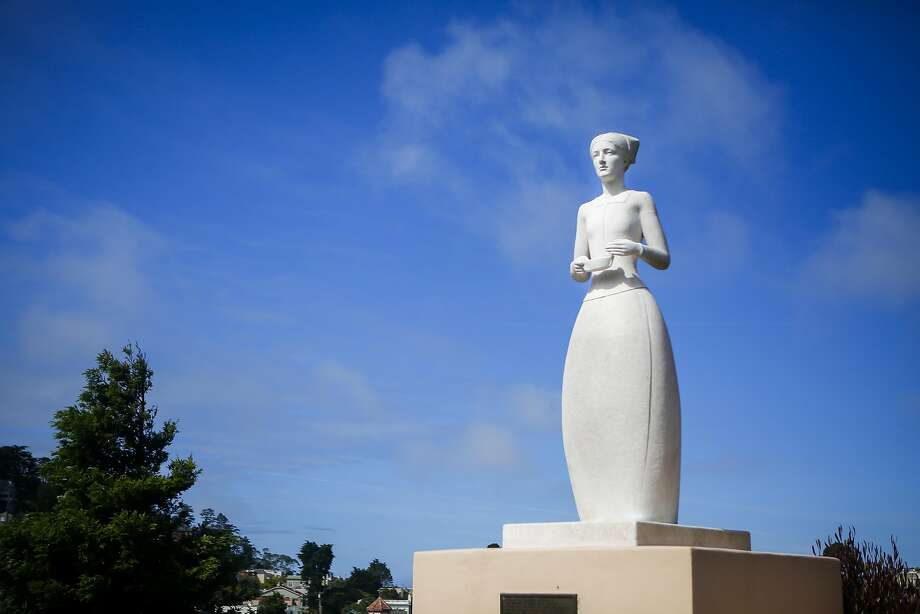A statue of Florence Nightingale, the founder of modern nursing, stands outside Laguna Honda Hospital. Photo: Nicole Boliaux, The Chronicle