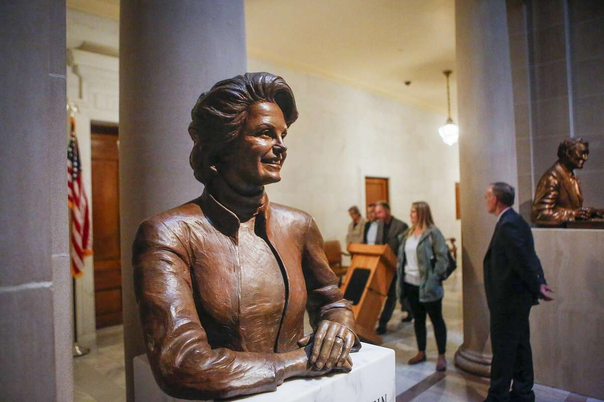 One of the two sculptures of real women in San Francisco, the bust of Dianne Feinstein, sits outside the Mayor's office in City Hall in San Francisco on June 9, 2017.