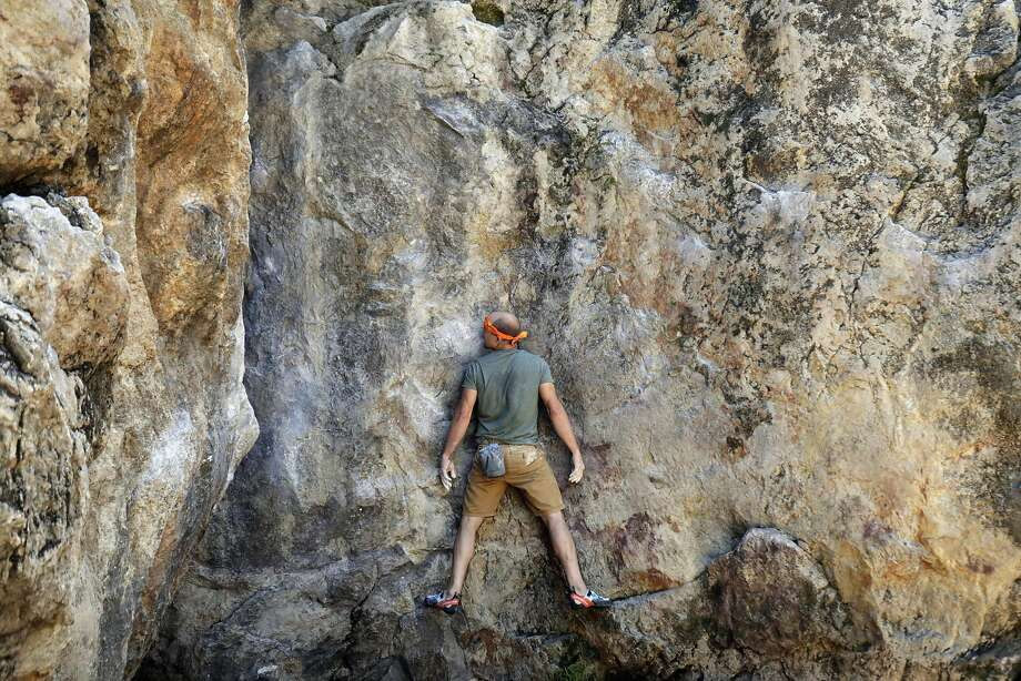 Ryan Crochiert climbs Indian Rock Traverse at Indian Rock Park on June 9, 2017 in Berkeley, CA. Photo: Paul Kuroda, Special To The Chronicle