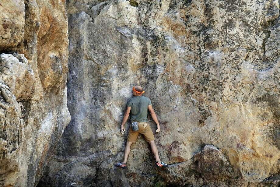 Ryan Crochiert climbs Indian Rock Traverse at Indian Rock Park on June 9, 2017 in Berkeley, CA. Photo: Paul Kuroda, Special To The Chronicle
