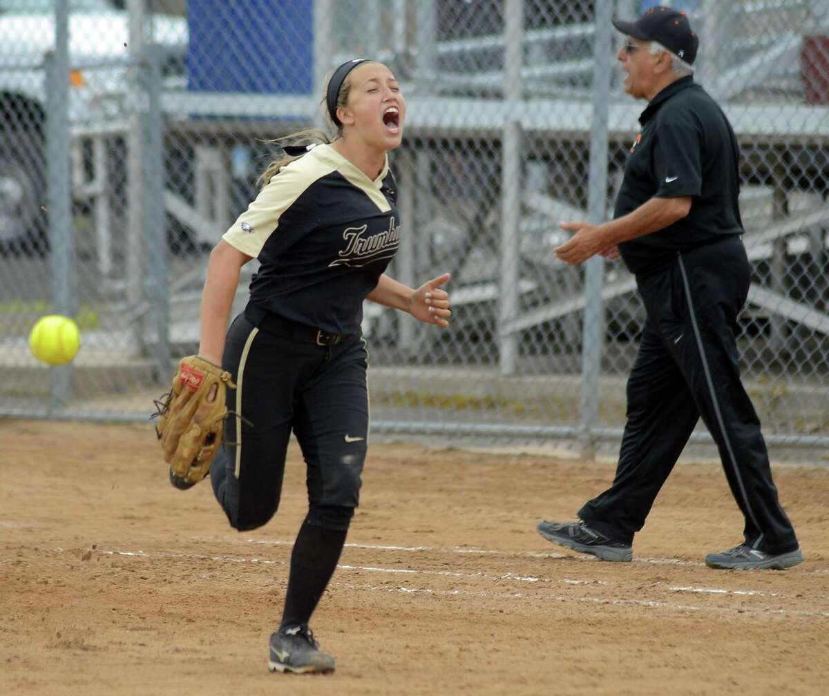 Trumbull's Briana Giacobbe celebrates following a 3-0 win over Stamford in a CIAC Class LL girls softball semifinal game at DeLuca Field in Stratford on Thursday. Trumbull faces Southington in the final on Saturday night.