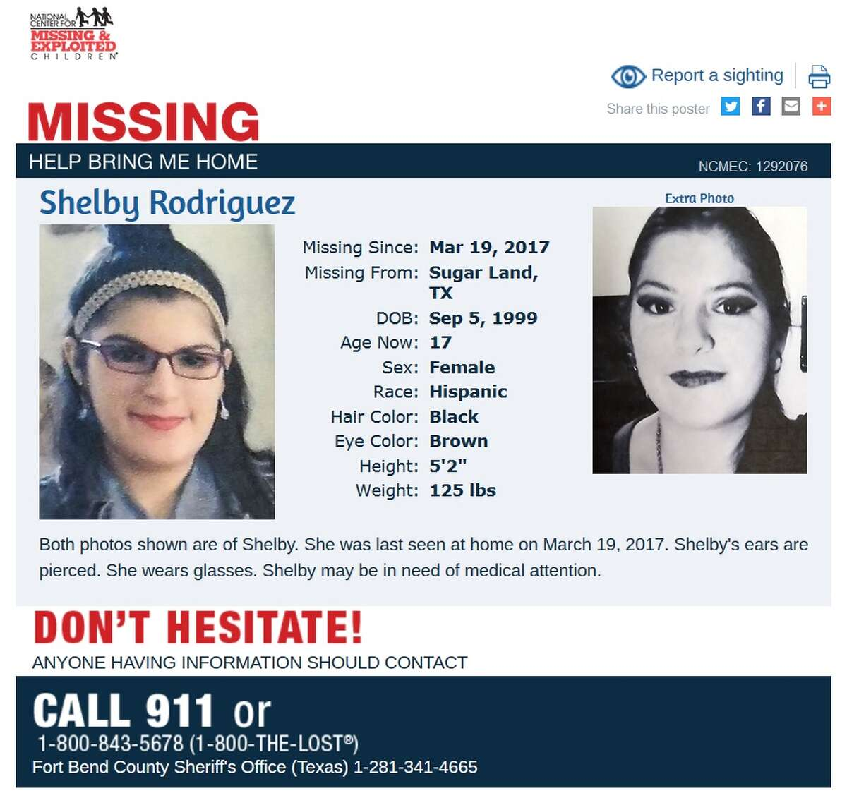 National Center for Missing and Exploited Children recent posters of Houston-area children as of June 9, 2017.