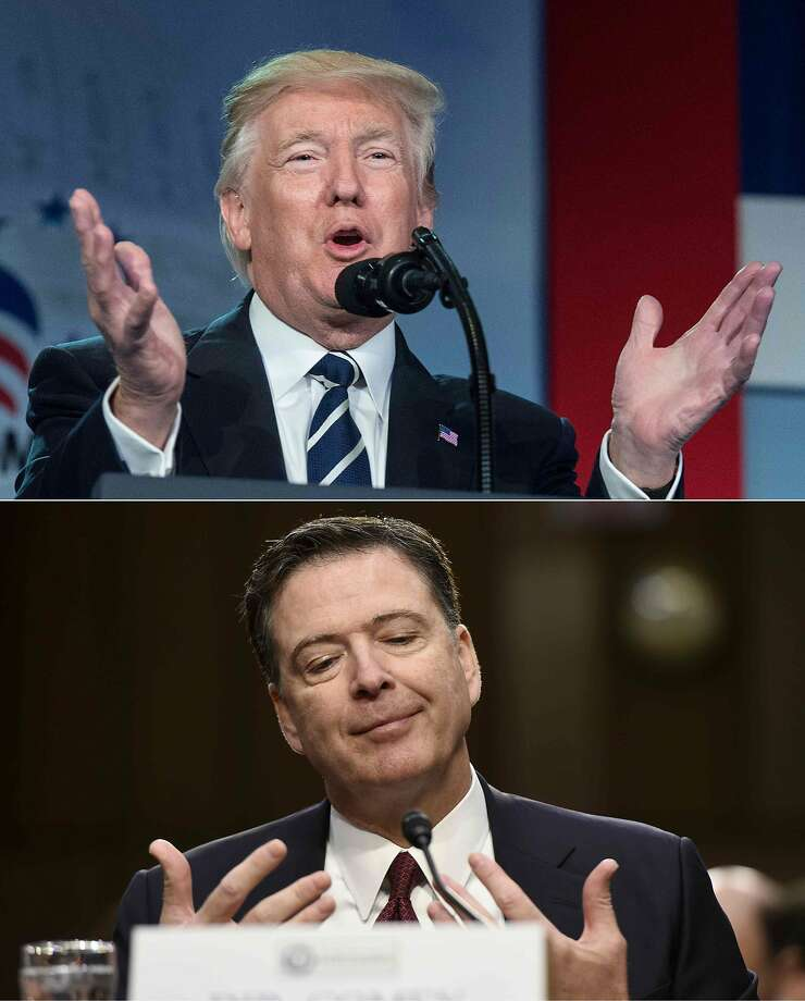 """This combination of pictures created on June 9, 2017 shows file photos of US President Donald Trump in Washington DC on June 8, 2017, and former FBI Director James Comey in Washington, DC, June 8, 2017.  Trump went on the attack June 9, 2017, after Comey's dramatic Capitol Hill testimony, claiming """"complete vindication"""" and slamming him for leaking documents about their private conversations. Trum zeroed in on Comey's confirmation that Trump personally was not under investigation over his ties to Russia.   / AFP PHOTO / NICHOLAS KAMM AND SAUL LOEBNICHOLAS KAMM,SAUL LOEB/AFP/Getty Images Photo: NICHOLAS KAMM, AFP/Getty Images"""