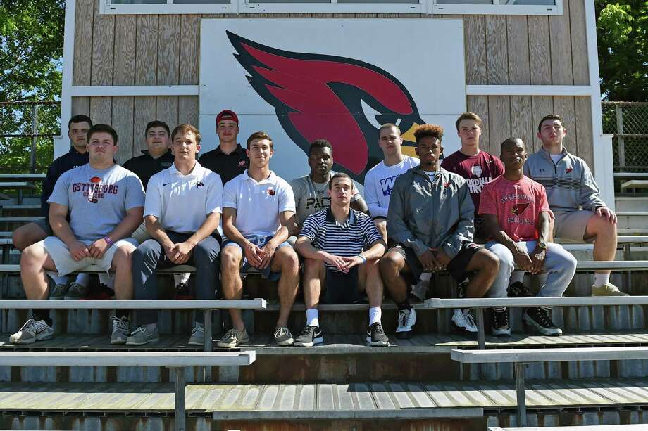 Fourteen players from the Greenwich High School football team are going to play at the collegiate level in the fall. The players include, front row left to right, Chase Piro, Cole Hartley, Anthony Ferraro, Matt Morganti, Zhaire House and Tyler Farris. Back row, left to right: Christian Novakowski, Blake Guerrieri, Connor Langan, James Day, Sam Colandro, Paul Williams and Peter Ryan. Not pictured, Kevin Iobbi. June 9, 2017 Photo: Contributed Photo / Contributed Photo / Greenwich Time Contributed