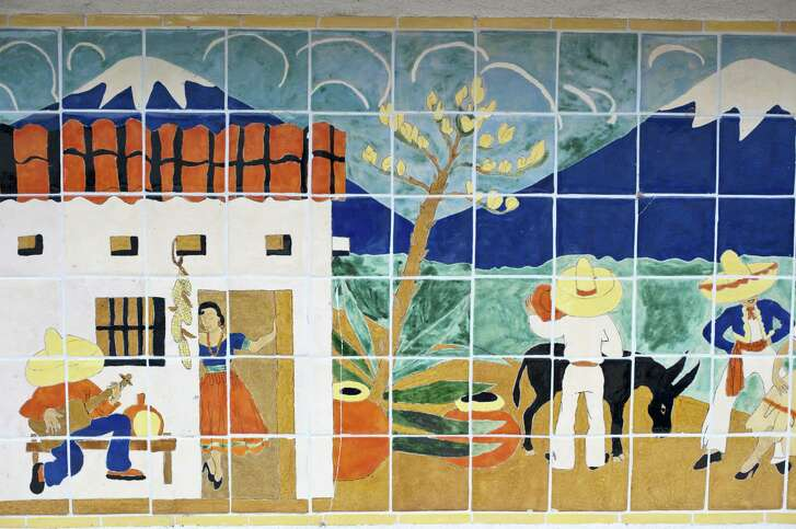 Details of village life in Mexico make up the Maverick Tile Mural that was restored and donated to the San Antonio River Foundation. It now can be seen on the River Walk below the El Tropicana Hotel.