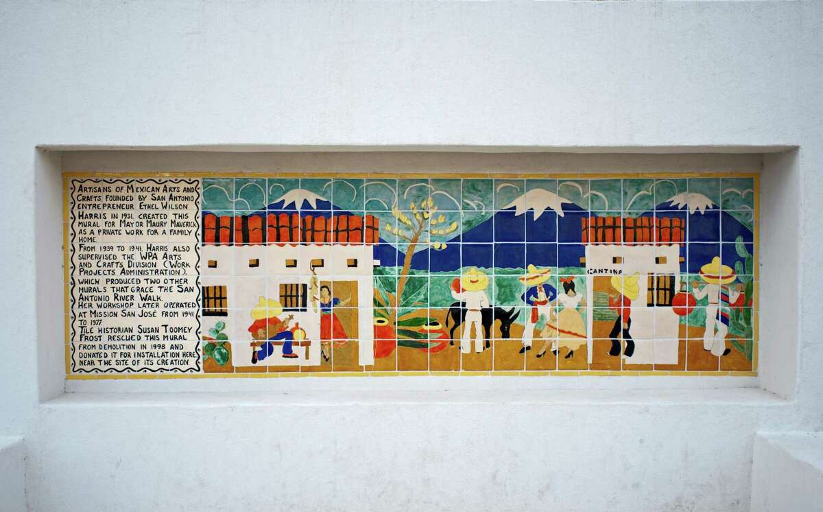 The Maverick Tile Mural crafted in the 1930s by the Mexican Arts & Crafts, run by Ethel Wilson Harris, can be seen by pedestrians and river barge guests on the River Walk north of the Lexington Avenue Bridge.