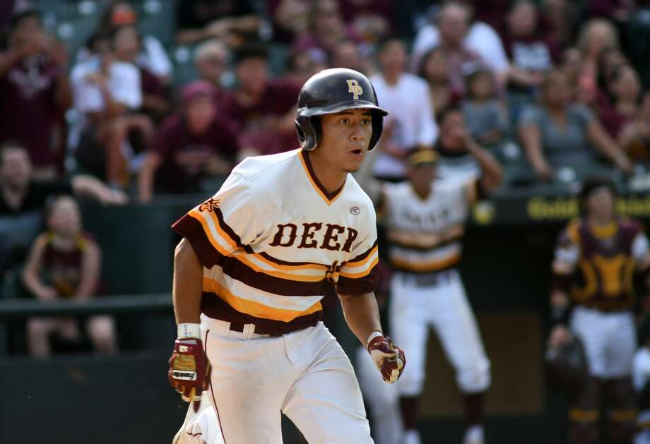 Deer Park senior shortstop Josiah Ortiz runs down the first base line to follow his drive that just went foul during his at bat in the bottom of the 6th inning against Southlake Carroll in their 2017 Class 6A UIL Baseball State Championship semifinal matchup at Dell Diamond in Round Rock on Friday, June 9, 2017. (Photo by Jerry Baker/Freelance) Photo: Jerry Baker/For The Chronicle