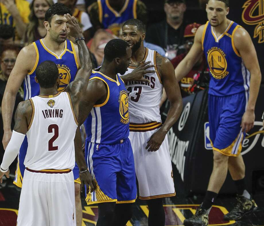 Golden State Warriors' Draymond Green gives Cleveland Cavaliers' Tristan Thompson a shove in the first quarter during Game 4 of the 2017 NBA Finals at Quicken Loans Arena on Friday, June 9, 2017 in Cleveland, Ohio Photo: Carlos Avila Gonzalez, The Chronicle