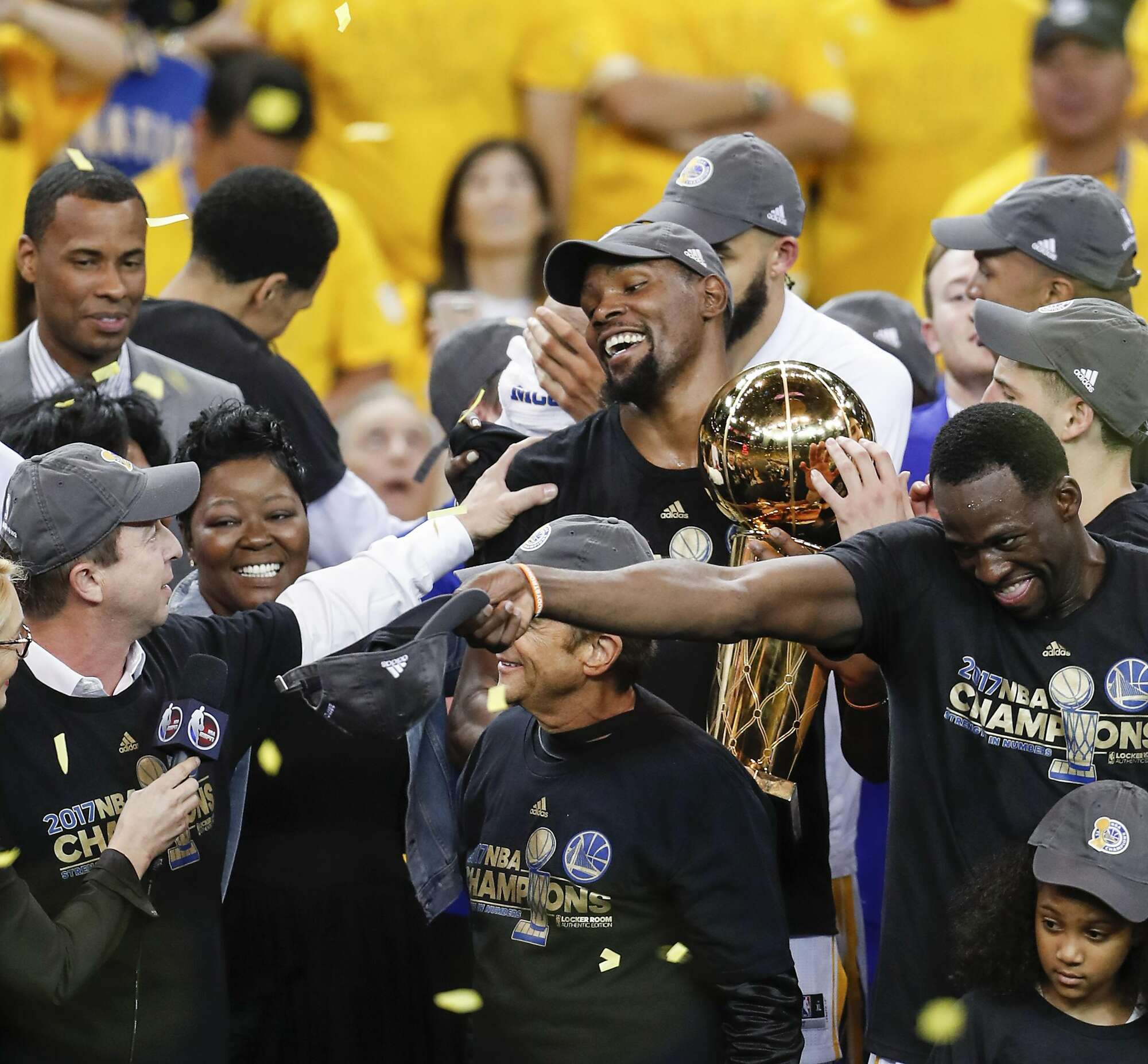 be64ca1e634 ... NBA Championship Trophy after the Warriors defeated the Cleveland  Cavaliers 129-120 in Game 5 to win the 2017 NBA Finals at Oracle Arena in  Oakland.