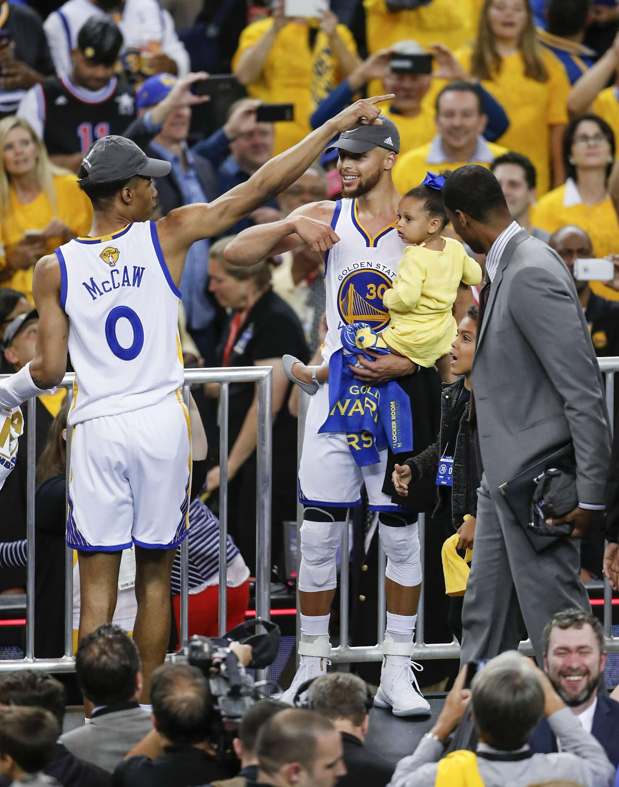 3f323aae6ed ... as Patrick McCaw celebrates after the Warriors defeated the Cleveland  Cavaliers 129-120 in Game 5 to win the 2017 NBA Finals at Oracle Arena in  Oakland.