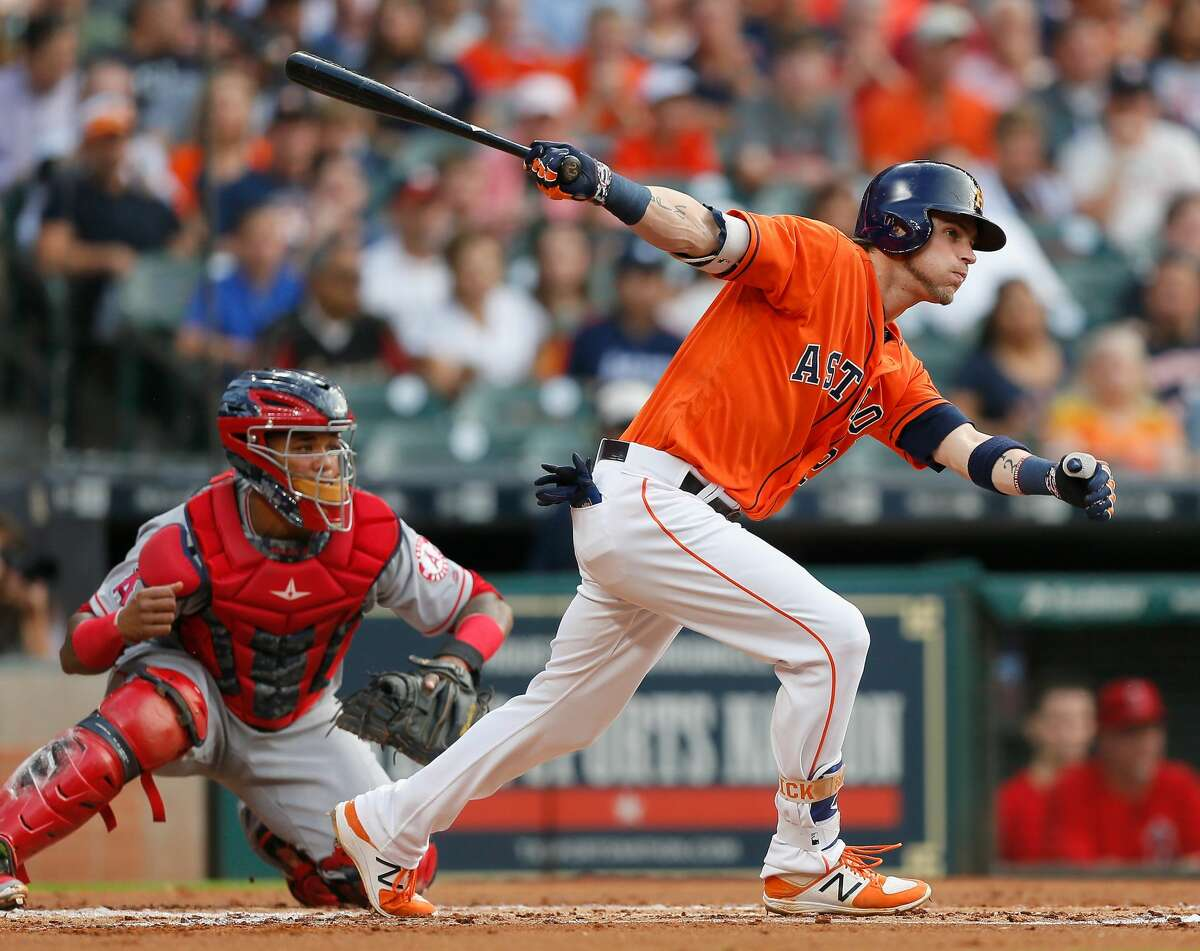 HOUSTON, TX - JUNE 09: Josh Reddick #22 of the Houston Astros singles in the first inning Los Angeles Angels of Anaheim at Minute Maid Park on June 9, 2017 in Houston, Texas. (Photo by Bob Levey/Getty Images)