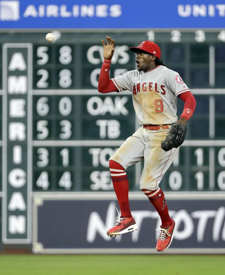 Los Angeles Angels center fielder Cameron Maybin celebrates after the Angles defeated the Houston Astros 9-4 in a baseball game Friday, June 9, 2017, in Houston. (AP Photo/David J. Phillip) Photo: David J. Phillip/Associated Press