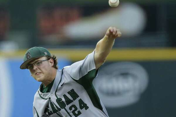 Reagan's Jake Hoggatt pitches against Round Rock during a Class 6A UIL state semifinal at Dell Diamond in Round Rock, Friday, June 9, 2017. (Stephen Spillman)