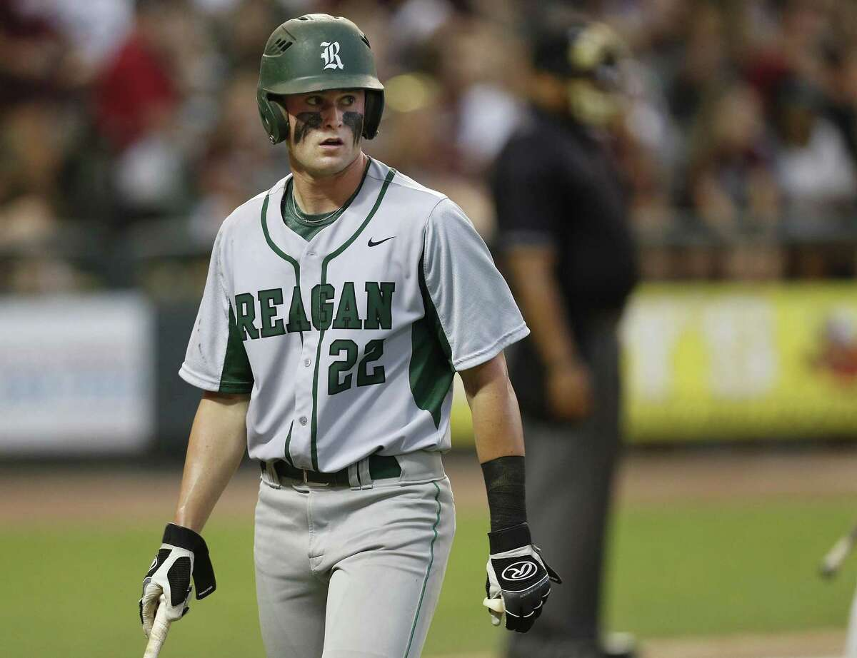 Reagan's Cade Bormet, walking back to the dugout during the Class 6A UIL state semifinal at Dell Diamond in Round Rock on June 9, 2017, is the 2017 Express-News All-Area Baseball Player of the Year.