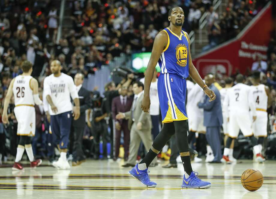 Golden State Warriors' Kevin Durant walks off the court during a third quarter timeout during Game 4 of the 2017 NBA Finals at Quicken Loans Arena on Friday, June 9, 2017 in Cleveland, Ohio Photo: Scott Strazzante, The Chronicle
