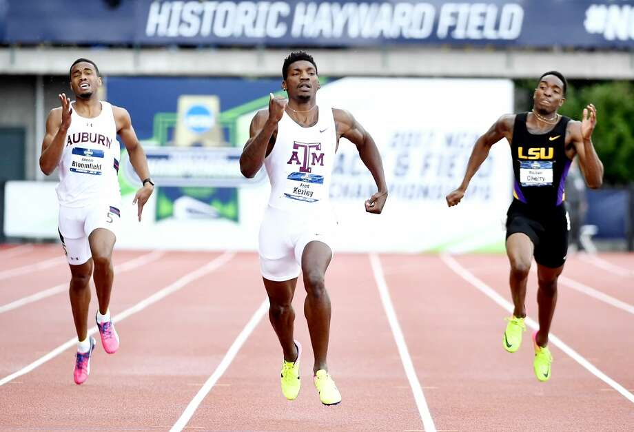 Fred Kerley anchored for the Aggies, who won the relay in 2:59.98. Even though it ultimately resulted in a loss of the team title. (Photo Credit: Errol Anderson/ Texas A&M Athletics) Photo: Texas A&M Athletics