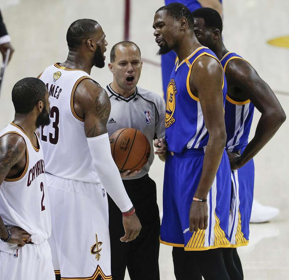 eeb54eab0 Cleveland Cavaliers  LeBron James and Golden State Warriors  Kevin Durant  share words in the