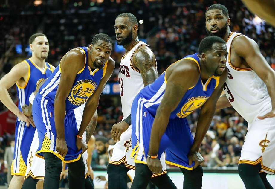 Golden State Warriors' Klay Thompson, Kevin Durant, Draymond Green and Cleveland Cavaliers' LeBron James and Tristan Thompson are seen in the first quarter during Game 4 of the 2017 NBA Finals at Quicken Loans Arena on Friday, June 9, 2017 in Cleveland, Ohio Photo: Scott Strazzante, The Chronicle