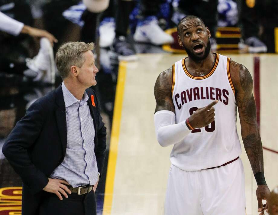 Golden State Warriors' Head Coach Steve Kerr and Cleveland Cavaliers' LeBron James talk in the first quarter during Game 4 of the 2017 NBA Finals at Quicken Loans Arena on Friday, June 9, 2017 in Cleveland, Ohio Photo: Carlos Avila Gonzalez, The Chronicle