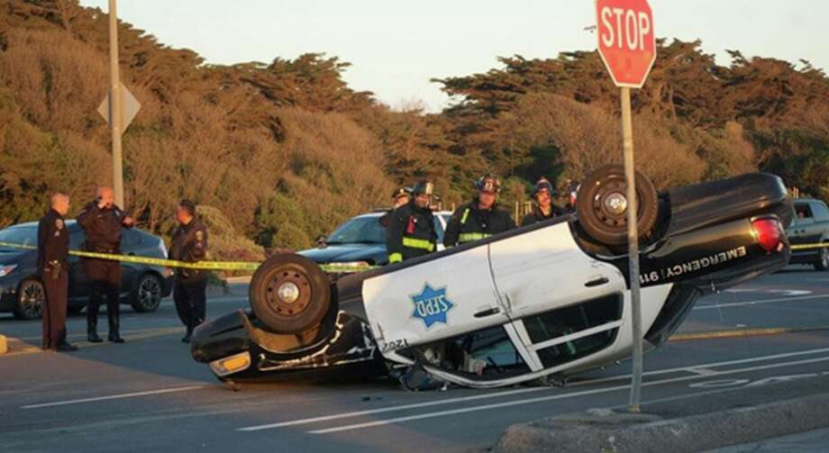 Two San Francisco police officers were injured Friday evening after a collision in their patrol car on the Great Highway near the city's Richmond District. Photo: @abc7newsbayarea Via Twitter