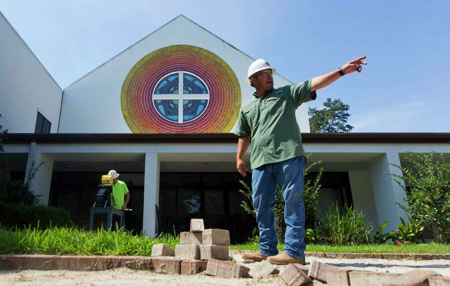 Slate Construction Superintendent Victor Murillo, Jr. describes the layout of a new 2,180 square foot welcome center as part of Lord of Life Lutheran Church's first expansion since the 1990s, Thursday, June 8, 2017, in The Woodlands. Photo: Jason Fochtman, Staff Photographer / © 2017 Houston Chronicle