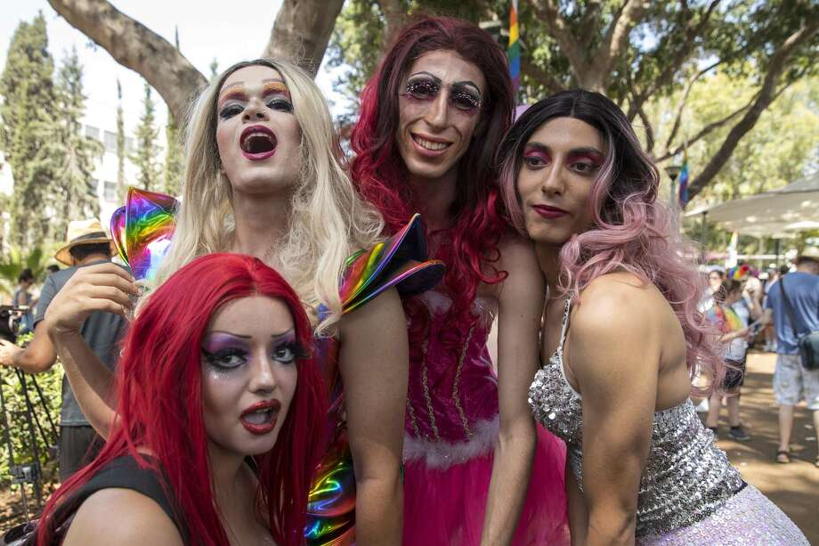 Israeli drag queens take part in the annual Gay Pride parade in the Israeli city of Tel Aviv, on June 9, 2017.  Tens of thousands of revellers from Israel and abroad packed the streets of Tel Aviv for the city's annual Gay Pride march, billed as the Middle East's biggest. / AFP PHOTO / JACK GUEZ Photo: JACK GUEZ/AFP/Getty Images