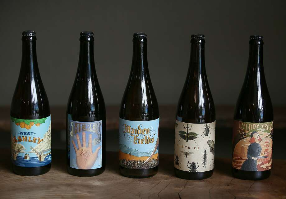 Bottles of beer at cult brewery and taproom Sante Adairius Rustic Ales in Capitola. Photo: Liz Hafalia, The Chronicle