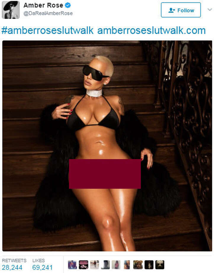 A bottomless photo (edited version seen above) was posted by stripper-turned-model Amber Rose to promote her upcoming Slutwalk, but was quickly deleted by Instagram. Rose reposted the photo to Twitter. Photo: Twitter.com/DaRealAmberRose