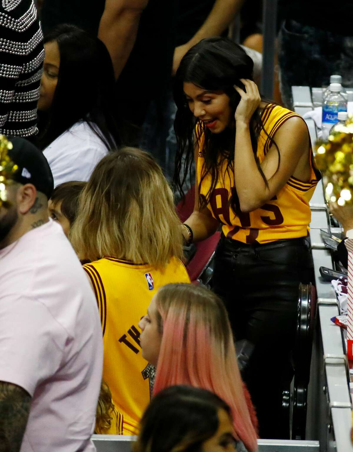 TV personality Kourtney Kardashian watches Game 4 of the 2017 NBA Finals between the Golden State Warriors and the Cleveland Cavaliers at Quicken Loans Arena on June 9, 2017 in Cleveland, Ohio.