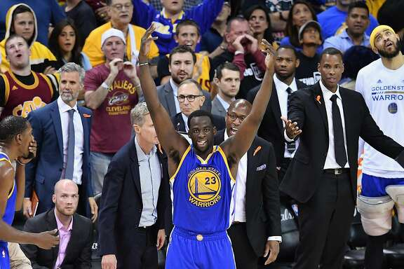 CLEVELAND, OH - JUNE 09: Draymond Green #23 of the Golden State Warriors gestures to the crowd after a foul in the third quarter against the Cleveland Cavaliers in Game 4 of the 2017 NBA Finals at Quicken Loans Arena on June 9, 2017 in Cleveland, Ohio. NOTE TO USER: User expressly acknowledges and agrees that, by downloading and or using this photograph, User is consenting to the terms and conditions of the Getty Images License Agreement.  (Photo by Jason Miller/Getty Images)