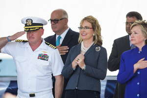 during the commissioning ceremony for the U.S.S. Gabrielle Giffords LCS-10 on Saturday, June 10, 2017, in Galveston.