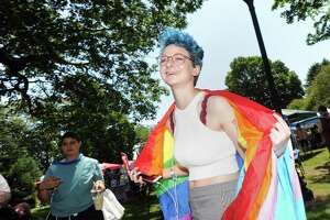 "Hannah Landesberg of Fairfield during the Triangle Community Center's annual Pride in the Park celebration, Mathews Park, Norwalk, Conn., Saturday, June 10, 2017. The festival bills itself as ""Fairfield County's LGBTQ Pride festival and is open to all."""