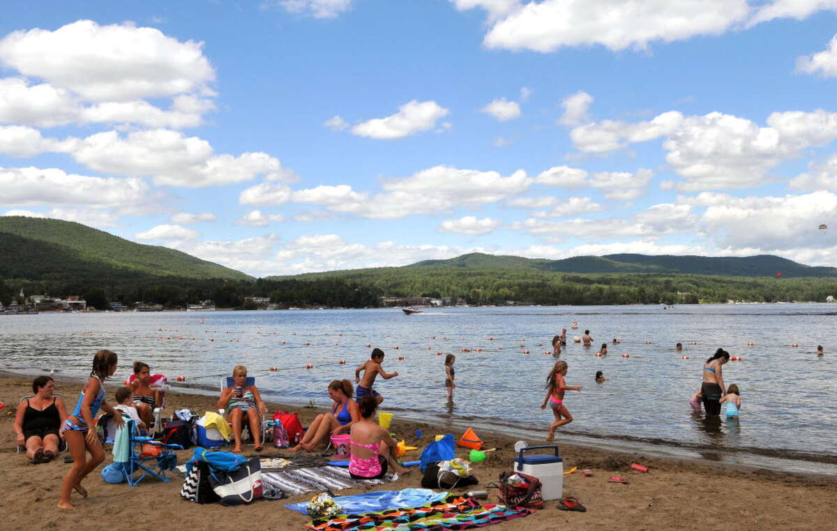 Million Dollar Beach in Lake George, N.Y. is open again for swimming after high bacterial levels in water closed it temporarily. (Times Union Archive)