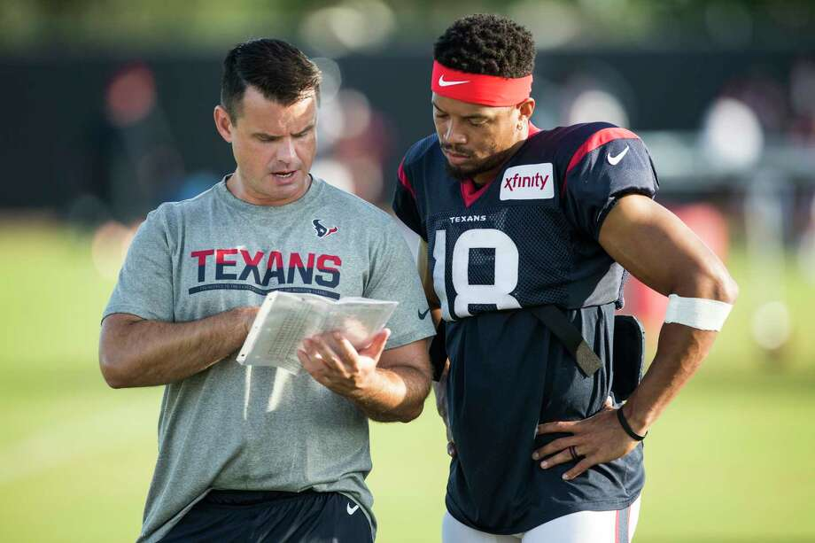 The Texans have given permission for quarterbacks coach Sean Ryan (left) to interview with the Browns for their vacant offensive coordinator position. Photo: Brett Coomer, Staff / © 2016 Houston Chronicle