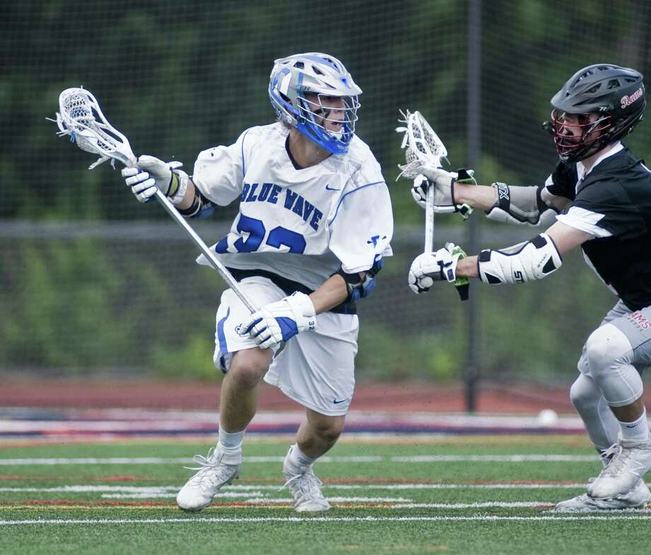 Darien High School's Finlay Collins tries to work towards the net in the Class L boys lacrosse championship against Cheshire High School, played at Brien McMahon High School in Norwalk. Saturday, June 10, 2017 Photo: Scott Mullin / For Hearst Connecticut Media / The News-Times Freelance