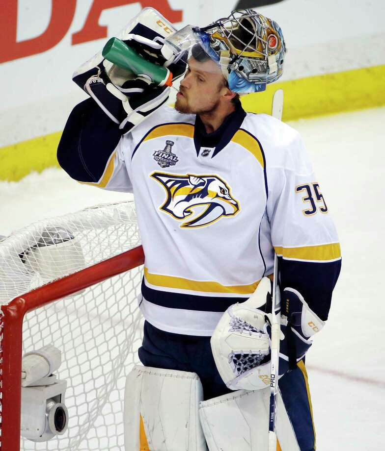 Predators goalie Pekka Rinne is 9-1 with a 1.44 goals-against average in the playoffs this season on home ice. Photo: Gene J. Puskar, STF / Copyright 2017 The Associated Press. All rights reserved.