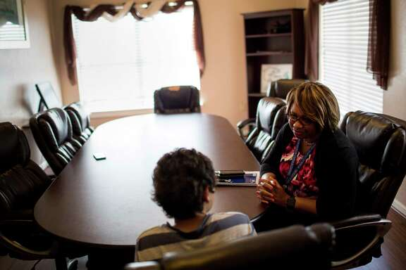 Shitonda Johnson is a special investigator with the state's Missing Children/Human Trafficking Task Force, which started up in April. She interviews a 13-year-old runaway with a history of mental illness who has been returned to a group home in Baytown.
