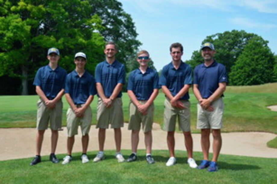 Photo provided by Jeff Gandy Competing at the Division 1 golf finals for Midland High were, from left, Carter Hazen, Ben Franjione, Nevada Walters, Jacob Chapman and Drew Gandy. At far right is head coach Jeff Gandy.