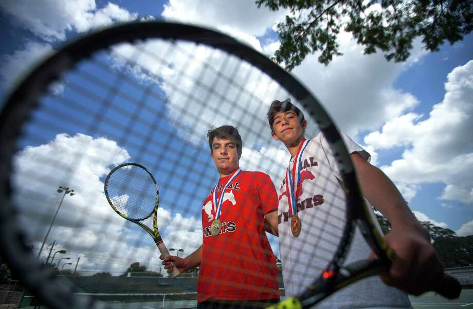 Memorial High School's Artur Zigman (left) and Andrew Esses, who teamed up to win the boys doubles state championship this year, are photographed as the Chronicle's All-Greater Houston boys tennis players of the year, Tuesday, May 30, 2017, in Houston. (Mark Mulligan / Houston Chronicle) Photo: Mark Mulligan, Staff Photographer / 2017 Mark Mulligan / Houston Chronicle